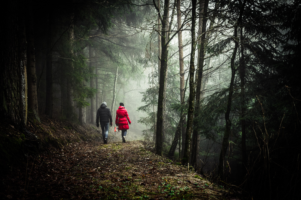 a couple walking in the woods