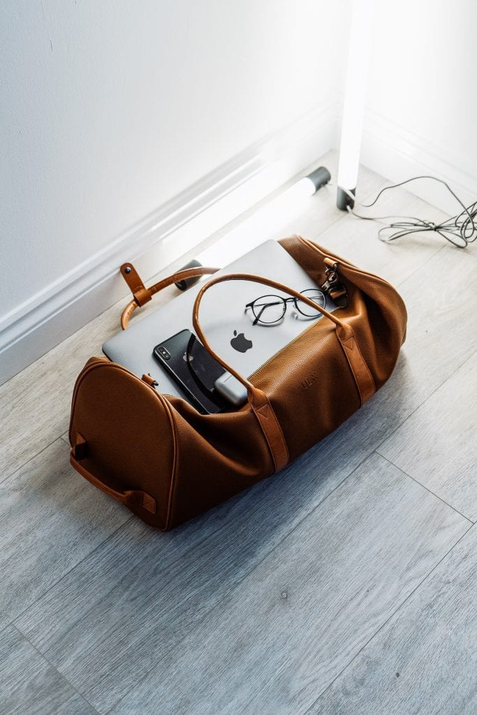 duffel bag with computer