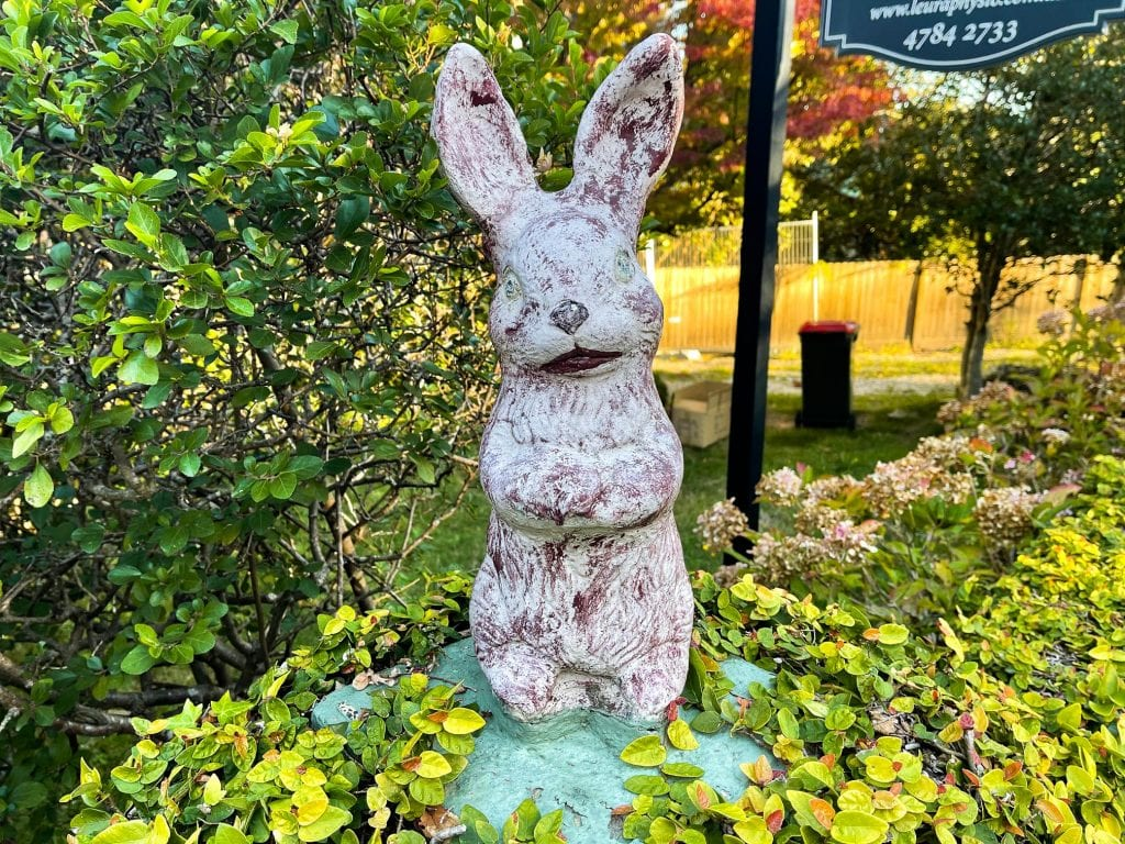 scary bunny statue